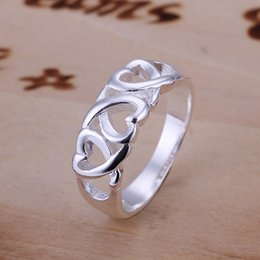 Wholesale Cute Gift For Wedding - Fashion 925 Sterling Silver rings jewelry multi cute hearts rings for women