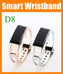Wholesale Iphone Bluetooth Sync - D8 Smart watch Bracelet Wristband metal gold sliver Sync Wrist LED Digital Bluetooth answer phone for iphone 6 Samsung SMARTphone OTH051