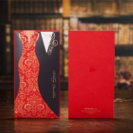 Wholesale wedding invitations asian - Typical Asian Red Black Panelled Wedding Invitations Cards Dress Suit Cover Carving Paper Pullout Style 50 Pieces At Least