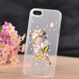 Wholesale Cell Phone Case Galaxy S4 - New For Iphone 5 5s 4s Samsung Galaxy S3 S4 S5 Note4 Note3 Cell Phone Cases Fashion Cell Phone Back Cases Cover Skin with Pearl Diamond