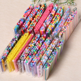 Wholesale Nail Art Fimo Rod Stick - 50 Pcs Nail Art Decorations Fruit Flower Butterfly Heart Feather Animal Fimo Canes Stick Rods Polymer Clay Stickers Tips Beauty