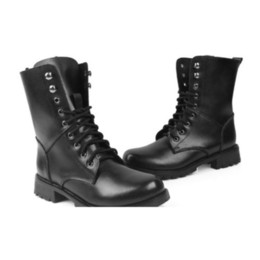 Wholesale Mid Calf Military Boots Women - New Womens Lady Fashion Mid-Calf Boots Leather Lace Up Martin Combat Military