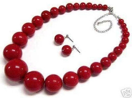 """Wholesale Red Coral Beads Necklace Sets - Beautiful 6-14mm Red Coral Round Beads Necklace Earring 18"""" Set"""