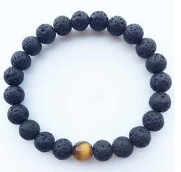 Wholesale Channel Ball - New Hot! Natural Lava Rock stone Popular sale lava beads bracelet Lavastone Bracelet with Tiger eye beads 8mm ball bracelet