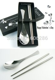 Wholesale Wholesale Wedding Supplies Usa - Wholesale USA 200sets lot fish tail stainless steel spoon and chopstick set tableware wedding festive supplies