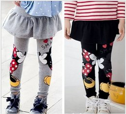 Wholesale Girls Culottes Spring Autumn - 2016 Children Cotton Leggings Culottes Spring Autumn Mickey And Minnie Printing Cartoon Kids Pants Black Gray Color Skirt Legging