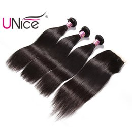Wholesale Brazilian Hair Bundles Lace Top - UNice Hair Virgin Straight Bundles With Closure Brazilian Free Part Lace Closure Human Hair Extensions Remy Hair Wefts With Closure Silk Top