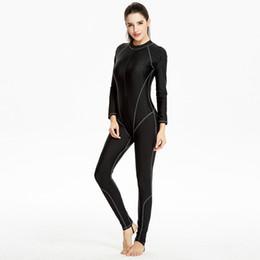 Swimsuit musulmanes on-line-Atacado-Sólidos Preto Swimwear Muçulmano One Piece Swimsuit Mulheres Mangas Compridas Bodysuit Feminino Board Surf Terno Fino Maiô