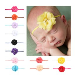 Wholesale Decorated Headbands - New Pattern European Kids Hair Accessorise Gilr Head Flower 2 Drill 2 Pearl Single 4 Trailers Baby Hair Decorate 10 Color