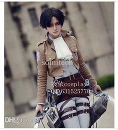 Wholesale Shingeki Kyojin Rivaille - Wholesale-Shingeki no Kyojin Eren Jaeger Attack on Titan Rivaille cosplay costume cloak set