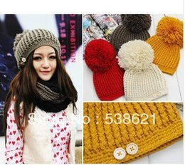 Wholesale Decorative For Hats - Wholesale-free shipping New super ball shag line decorative buttons caps, winter knitted hats for women, multi-color