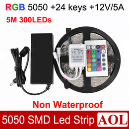 Wholesale Led String Cars - 5050 SMD RGB LED Strip Light 5M 300leds non-Waterproof LED String+ 24 Keys IR Remote + 12V 5A Power adapter for car party bar