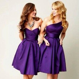 Wholesale Dresses For Bride Maids - 2016 Plus Size Purple Short Bridesmaids Dresses A Line Different Style Knee Length Cheap Simple Junior Brides Maids Dresses For Weddings