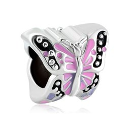 Wholesale Colorful Beads Fit Pandora - 5mm Slide Hole Colorful Enamel Butterfly Bead Rhodium Plating Insect Animal European Charm Fit Pandora Bracelet