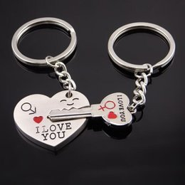Wholesale Craft Love Gifts - 1 Set Heart Cute Couple Keychain Valentine's Day Lover Gift Silver Chic Keychain I LOVE YOU Key Ring Silver Craft
