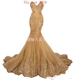 Wholesale Lace Sleeveless Prom Dress - 2016 New Style Mermaid Gold Prom Dresses Sequins Lace Up Back Evening Gown Real Sample Long Party Dress