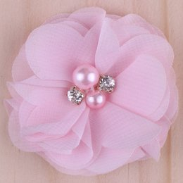 Wholesale Cotton Blend Fabrics Wholesale - 2015 20colors Chiffon Flowers With Pearl Rhinestone Center Artificial Flower Fabric Flowers Children Hair Accessories Baby Headbands Flower