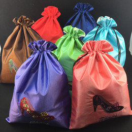 Wholesale Shoe Travel Bag Fabric - Portable Large Drawstring Travel Shoe Bag Embroidered Dust Bags Reusable Protection Covers High Quality Silk Fabric Storage Bag Pouch