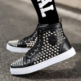 Wholesale New Stylish High Tops - 2017 Fall new men's stylish embossed rivets high-top flat Boots man casual Lace-up Solid motorcycle High help leather shoes