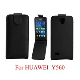 Wholesale Cases For Huawei Ascend - For Huawei Ascend P10 Y530 Y560 Flip PU Leather Case Pouch Purse Pocket Synthetic Plain Smooth Skin Black vertical Cover Mobile phone Luxury