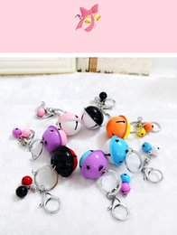 Wholesale metal bell charms - Cartoon cute metal candy color bells key ring pendant creative couple car bag pendant accessories KR049 Keychains mix order 50 pieces a lot