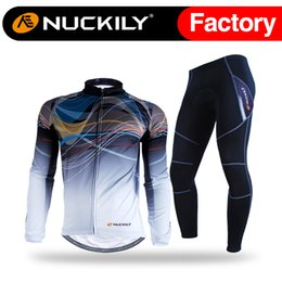 Wholesale Mens Cycling Jacket Xl - Nuckily OEM design men's fleece long cycling clothing sets mens waterproof windproof riding jacket sets NJ531-W&NS900-W