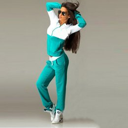 Wholesale Girls Two Piece Sets - Two Piece Girl Tracksuit Women Hoodies Sweatshirt +Pant Running Sport Track suit 2 Piece jogging sets survetement femme clothing