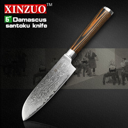 "Wholesale Damascus Steel Kitchen - Wholesale-XINZUO 5""Japanese chef knife 73 layers VG10 Damascus steel kitchen knife high quality santoku knife wooden handle FREE SHIPPING"