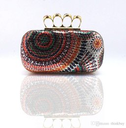 Wholesale Dimond Bags - Ladies' Clutch Knuckle Rings evening bag ,cyrstal Rhinestone Fingers Rings Clutches Bag With colourful dimond 03917 081818