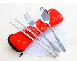 Wholesale Korean Stainless Steel Chopsticks Set - High Quality Outdoor Portable Lunch Stainless Steel Spoon Fork Chopsticks Tableware Sets