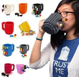 Wholesale Green Coffee Mugs Wholesale - Build-On Brick Mug Lego Type Building Blocks Coffee Cup DIY Block Puzzle Mug 12oz 350 ml Christmas Mugs Gift