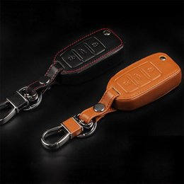 Wholesale Car Skoda Octavia - Car Styling Key Cover For Volkswagen VW Jetta MK6 Tiguan Passat Golf POLO cc bora Skoda octavia Fabia Superb Leather
