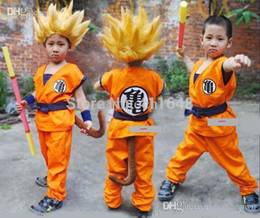 Wholesale S Wigs - Wholesale-Cos Dragon Ball Z Son GoKu Cosplay Costume Fancy Party Clothing Top+Pans+Belt+Tail+Wig Free Shipping XS S M L XL Free Shipping