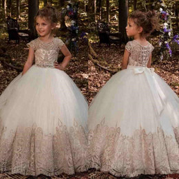 Wholesale Cheap Flower Lights - 2017 Lovely Lace Appliques Flower Girl Dresses for Weddings Short Sleeves Jewel First Holy Communion Dresses Floor Length Custom Made cheap