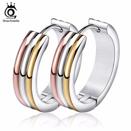 Wholesale Hoops For Earrings - ORSA JEWELS Unique Multi Color Stainless Steel Hoop Earrings for Women Fashion Party Jewelry Wholesale GTE34