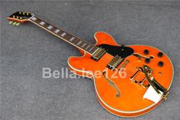Wholesale Oem Jazz Guitars - Hot selling music instrument,classical orange color hollow body jumbo jazz 335 electric guitars ,factory OEM handmade guitar