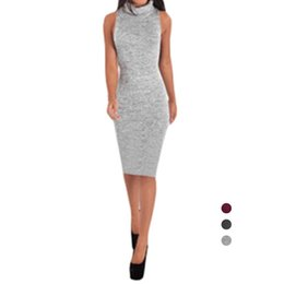 Wholesale Turtle Dress - S5Q Women Simple Sexy Sleeveless High Collar Knit Slim Package Hip Bodycon Dress AAAFMG