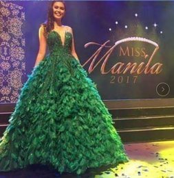Vestido de noche 2017 Yousef aljasmi Kim kardashian Cariño Pluma verde Vestido de gala Almodal gianninaazar Kylie Jenner Zuhair murad desde fabricantes