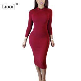 Wholesale Club Clothes For Plus Size - Liooil 2017 Autumn Dress Turtleneck Long Sleeve Black Wine Red Midi Bodycon Dresses Fashion Winter Plus Size Clothing For Women q171118