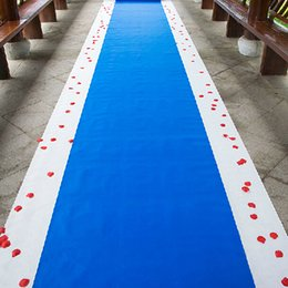Wholesale Theme Ring - 20 Meters roll Royal blue Wedding Theme Nonwoven Fabric Carpet Aisle Runner For Wedding Party Decoration Supplies Free Shipping