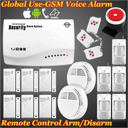 Wholesale Armed Personal Security - New brand Wireless Wired Home Security GSM Voice Alarm System Arm disarm SMS  Autodial Sim call+Smoke Detector App IOS Android remote kits