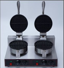 Wholesale waffle sticks maker - commercial electric double head waffle maker waffle baker machine with stainless steel non-stick surface 110v 220v free shipping