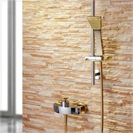 Wholesale Laundry Tub Faucets - Wholesale-mixer antique 2015 Patent Design Luxurious Golden Wall Mounted Bath & Shower Faucet Mixer Tap steel laundry tub