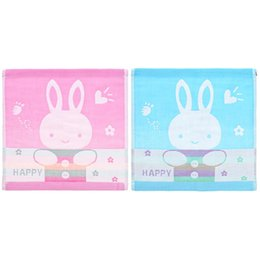 baby bath towel square Promo Codes - Wholesale- Baby Bathing Face Washing Handkerchief Infant Cotton Square Feeding Towel Obedient-rabbit Pattern Kids Hand Towel Handkerchiefs