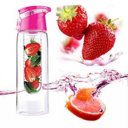 Wholesale Fruit Water Infuser - 700ML Tritan Fruit Infusing Infuser Bottle Sports Health Lemon Juice Bottle Water Flip Lid Juice Maker 5Pcs Lot Free Shipping