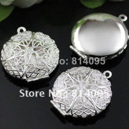 Wholesale Hollow Box Lockets - Free Shipping wholesale 27mm Silver Plated Copper Material Hollow Round Photo Memory Filigree Lockets pendant jewelry box