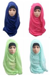 velo hijab Rebajas Las muchachas al por mayor musulmanes toallas 13 diferentes colores puros señora hijab velo bufanda bufandas de moda envuelve DHL envío rápido
