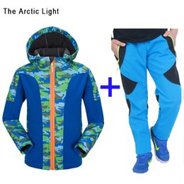 Wholesale Waterproof Jacket Girls - High Quality Boys and Girls Outdoors Sports Jackets + Pants Suit Camping Hiking Windproof fleece Winter Autumn Softshell Hooded Coat Trouser