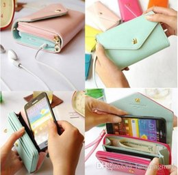 Wholesale Iphone 4s Korean Wallet - Hot Sell Women Korean Lovely envelope Purse Wallet Case for Samsung Galaxy S3,S2,Iphone 5 5S ,4S 4,6S 6 Free Shipping A3