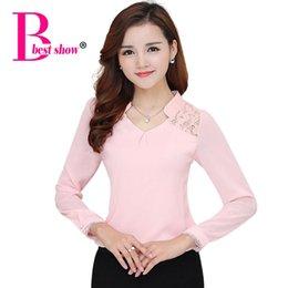 Wholesale Shirt Women Blouse - Autumn Winter Chiffon Women Blouse Plus Size 2016 New Fashion Lace Patchwork Women Shirt Long Sleeve Elegant Hollow Out Tops
